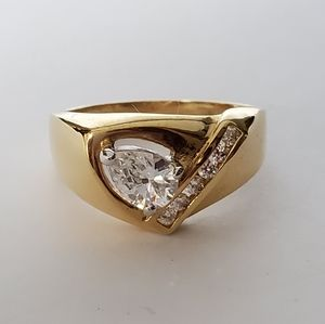 Other - Yellow Gold Plated Cubic Zirconia Cocktail Ring